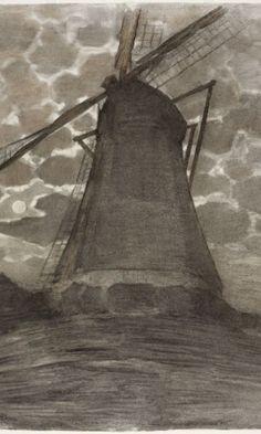 Piet Mondrian, Moinho à noite (1917)
