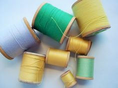 Vintage Thread on Wooden Spools, Greens, Yellows, and Lilac, Easter Colors, Unique Art Supply, Altered Art Supply, Colorful Decor by ThrowItForward on Etsy