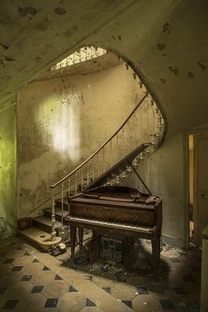 'Divine symphony' by dimitri_ca Abandoned Train, Abandoned Houses, Abandoned Places, Spooky Scary, Creepy, Built In Wall Units, Photos Of Eyes, Beautiful Inside And Out, Architecture Old