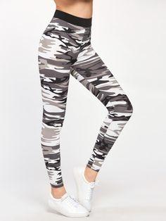 7536340b7e6 Contrast Waist Camo LeggingsFor Women-romwe Ladies Leggings