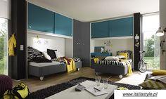 młodzieżowa szafa linea color 2- drzwiowa  uchwyty kwadratowe