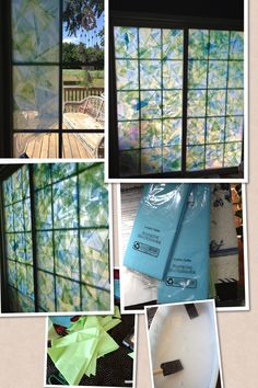 How to fake stained glass windows. Supplies Tissue paper Scissors Mod podge A large bowl Paint brush. Towels Cut your tissue paper anyway you want. I did triangles. Pour mod podge in the bowl Paint part of the window with the mod podge. Place cut tissue on top of mod podge. Then paint over it with Mod podge. Create any design you want. Be sure to clean the window good before you start and place towels on floor below you cause it gets messy. And wear old clothes.