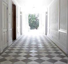 Marble and bateig blue limestone floor.  House of Windsor via Cote de Texas