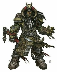Orc Barbarian Chief - Pathfinder PFRPG DND D&D d20 fantasy
