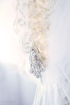 pretty rhinestone detail on a custom hand beaded veil.