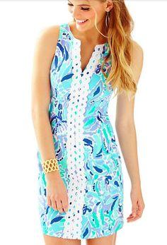 The Lilly Pulitzer Ryder Shift Dress in Lilly's Lilac is simply LILLY. This bra-friendly printed shift dress has a notched neckline with lace details. When planning a summer getaway, be sure to pack a