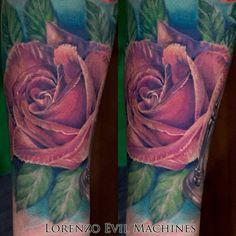 Rose - Rosa realistica a colori - Realistic Color Tattoo by Lorenzo Evil Machines - Roma - tatuaggi realistici e ritratti 3D animali -