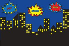 Superhero Skyline Backdrop Superhero Background por paperstudioeu