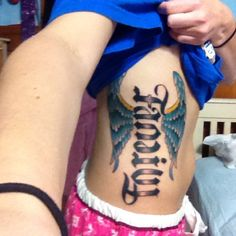 Family/Forever ambigram tattoo. Family going one way (tilt head other way) and you'll see the Forever. Angel wings sprouting out. http://media-cache5.pinterest.com/upload/29554941274632855_Wc1rRmXp_f.jpg www.tappocity.com kellyguer Amanda love it