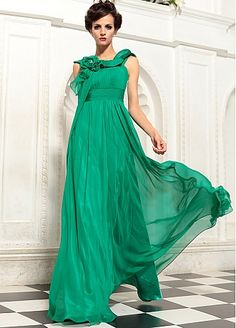 In Stock Glamorous A-line Bateau Neckline Empire Waist Pleated Long Party Dress With Beadings and Handmade Flowers