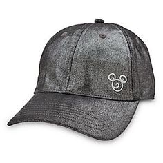 Disney Mickey Mouse Metallic Baseball Cap for Adults | Disney StoreMickey Mouse Metallic Baseball Cap for Adults - Add a touch of allure to your all-star game wearing Mickey's metallic fabric baseball cap with a glittering graphite finish, and accented by a silvery embroidered filigree mouse icon.