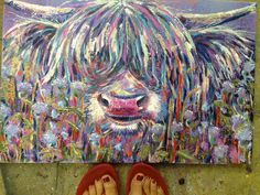 "WIP- nearly complete- latest commission- ""Coo in a Thistle Thicket"" 40x60cms oils, spray paints and acrylics on canvas."