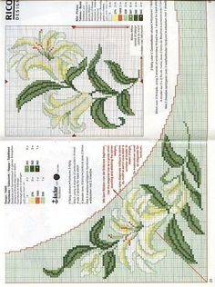 This Pin was discovered by Paw Cross Stitch Borders, Cross Stitch Rose, Cross Stitch Flowers, Cross Stitch Designs, Cross Stitching, Cross Stitch Patterns, Ribbon Embroidery, Cross Stitch Embroidery, Embroidery Patterns