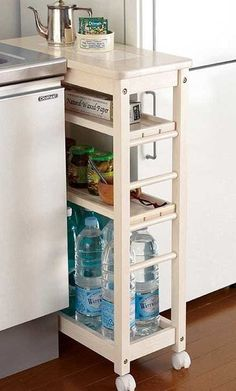 If there are gaps in between prefab cabinets and appliances - New Ideas Kitchen Organisation, Diy Kitchen Storage, Home Organization, Kitchen Decor, Ikea Kitchen, Organizing, Diy Casa, Cheap Home Decor, Rv Storage