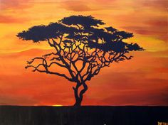 Aw! Some random person pinned one of my paintings. Now I will pin it too. :)  Acacia Tree Silhouette  African Sunset Landscape by ArtworkByHand
