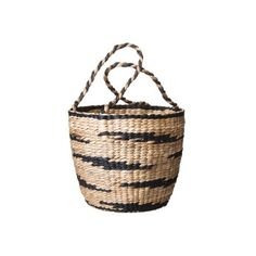 Nate Berkus Water Hyacinth Basket with Handles ($35) ❤ liked on Polyvore featuring home, home decor, small item storage, bags, baskets, bins & containers, storage & organization, water hyacinth basket, wicker baskets and nate berkus