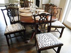 snow leopard pattern Chair Upholstery, Upholstered Dining Chairs, Dining Room Chairs, Dining Rooms, Dining Area, Furniture Makeover, Diy Furniture, Little Green Notebook, Dining Chair Covers