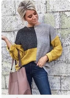 Hot Women Casual Long Sleeve Knitted Sweater Pullover Loose Jumper Tops Knitwear Winter Color Patchwork O-neck Sweaters Fashion Pullover Mode, Pullover Sweaters, Cardigans, Sweater Fashion, Fashion Outfits, Womens Fashion, Ideias Fashion, Knitwear, Sweaters For Women