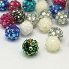 Chunky Resin Rhinestone Beads, Resin Round Beads, Mixed ColorSize: about in diameter, hole: beads made of resin are reasonable in price and soft in texture. Cheap Beads, Cheap Jewelry, Jewelry Crafts, Jewelry Party, String Bracelet Patterns, Jewelry Making Kits, Beads Online, Wholesale Beads, Handmade Beads
