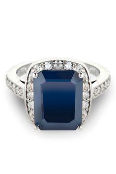 Sapphire & Diamond Wedding Band In 14K White Gold.