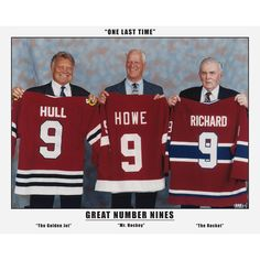 This limited edition collectors photograph is inches, numbered out of 999 and features the Great Number Nines; Maurice Richard, Gordie Howe and Bobby Hull. This was taken in Alberta at Rocket Ri Montreal Canadiens, Mtl Canadiens, Blackhawks Hockey, Hockey Mom, Ice Hockey, Hockey Stuff, Chicago Blackhawks, Stars Hockey, Rangers Hockey