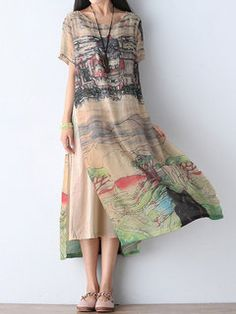 Gracila Scenery Printed Double Layer Short Sleeve Women Dresses