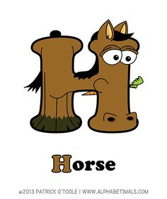 Horse - Alphabetimals make learning the ABC's easier and more fun! http://www.alphabetimals.com