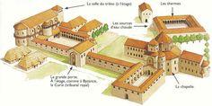 """Germany, Aachen (called Aix le Chapelle in French) - reconstruction of Palace - Charlemagne's Reign 768-814.- 7) LETTRES: NOTKER LE BEGUE, en 885, affirmera quant à lui, que le travail d'Alcuin auprès de Charlemagne a fait des Francs les égaux des Romains et des Athéniens. Reste à savoir si l'infatigable """"Albin"""" pensait vraiment que son ambition se réaliserait dans le cercle savant de la cour de Charles, où il fut présent de 782 environ à 790..."""