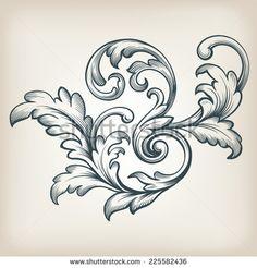 vintage Baroque scroll design frame engraving  acanthus floral border pattern element retro style filigree vector