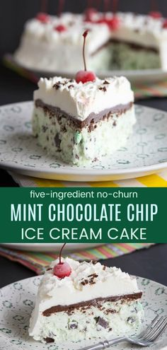 No-Churn Mint Chocolate Chip Ice Cream Cake - this homemade ice cream cake recipe has only four ingredients and no ice cream maker needed! Make it for a birthday, summer, or anytime you want a minty and creamy frozen dessert! Gluten Free Chocolate Chip Cookies, Mint Chocolate Chips, Chocolate Recipes, Chocolate Cream, Gluten Free Ice Cream Cake, Recipe For Mint Chocolate Chip Ice Cream, Mint Ice Cream Cake Recipe, Diy Ice Cream Cake, Chocolate Cupcakes