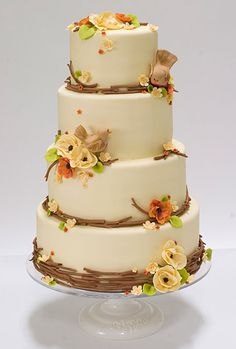 Yellow Floral Surround Fall Wedding Cake Designs