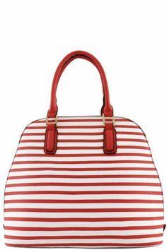 XO Striped Top Handle Bag