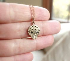 Tiny Sugar Skull Necklace 18K Gold Plated Charm by SparklePopShine, $18.00