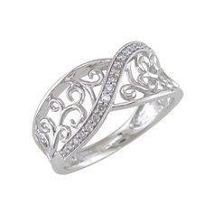 1/10 CT. T.W. Diamond Scroll Ring in Sterling Silver - (Zales Item #19973934 - Silver $216) Tried on.
