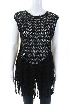 a5fc5ec963b Details about Vivienne Tam Womens Cotton Crochet Knit Fringe Edge Sheer  Blouse Black Size 2
