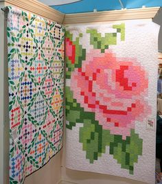 "Pixel quilt idea - picture of Trish Poolson's ""Vintage Rose Quilt"" - she's developing a pattern, but already, the picture speaks volumes! It's like making a cross-stitch design out of tiny quilt squares!"