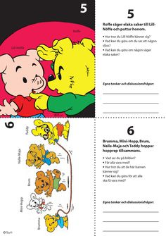7 Situationsbilder för nedladdning – Bamse.se Preschool Friendship, Working With Children, Teaching Materials, Textiles, Social Science, Social Skills, Pre School, First Grade, Kids And Parenting