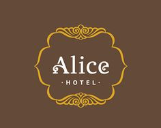 "Logo for hotel ""Alice"" that is located in Berdyansk town by the Azov sea Typo Logo, Logo Branding, Branding Design, Logo Inspiration, Cafe Names Ideas, Typography Letters, Lettering, 100 Logo, Restaurant Logo Design"