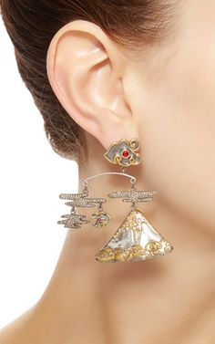 Tourmaline And Pink Sapphire Volcano Mobile Earrings by Sylvie Corbelin for Preorder on Moda Operandi
