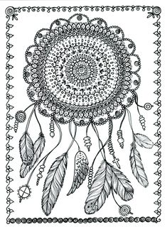 Poster Dreamcatcher Art to Color Large 11 x 14 Size Coloring Page