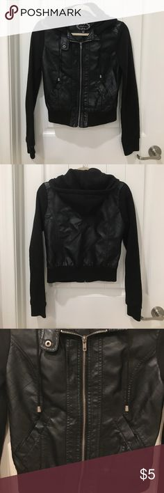 Faux leather jacket Cute faux leather-cotton sleeves jacket! Ambiance Apparel Jackets & Coats
