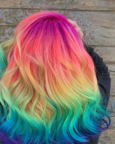 52 Ombre Rainbow Hair Colors To Try ombre rainbow hair colors; coolest hairs color trends in trendy hairstyles and colors women hair colors; Cute Hair Colors, Pretty Hair Color, Beautiful Hair Color, Hair Dye Colors, Ombre Hair Color, Purple Hair, Blue Ombre, Rainbow Hair Colors, Rainbow Dyed Hair