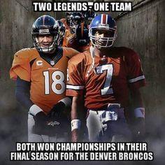 Peyton Manning ( won two Super Bowls) and John Elway ( won two super bowls too). That s neat! Denver Broncos Peyton Manning, Nfl Football Players, Denver Broncos Football, Nfl Denver Broncos, Broncos Fans, Football Memes, Pittsburgh Steelers, Dallas Cowboys, Sport Football