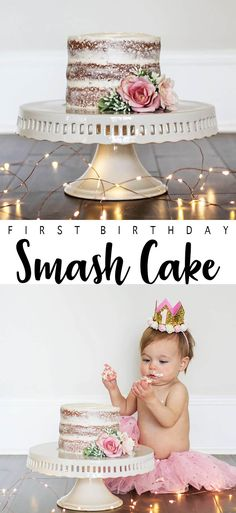 Rustic-chic Naked Cake for an adorable first birthday Smash Cake session! Smash Cake First Birthday, 1st Birthday Party For Girls, Baby Cake Smash, Smash Cakes, Baby Cakes, Birthday Parties, Birthday Ideas, Birthday Gifts, First Birthday Traditions