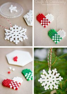 Bead Ornaments - snowflakes from perler beads!