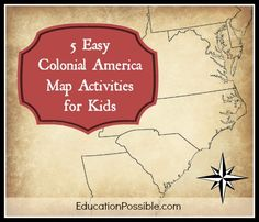 5 Easy Colonial America Map Activities for Kids - When we study early American . - 5 Easy Colonial America Map Activities for Kids – When we study early American history, I includ - Map Activities, History Activities, Teaching History, Activities For Kids, History Education, Colonial America Unit, Colonial Games, Study History, Nasa History
