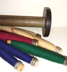 Industrial Wooden Spool and 8 Thread Yarn Bobbin Spool by Avaricia, $27.99