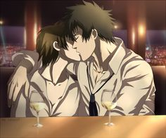 Psycho-pass: Kogami x Tsunemori - Kiss by Lesya7.deviantart.com on @deviantART