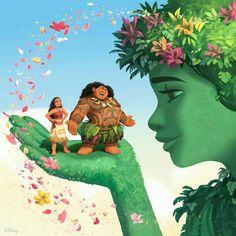 Moana, Maui and Te Fiti with beautiful colorful flowers Moana Disney, Disney Pixar, Film Disney, Disney Princess Art, Disney Fan Art, Disney And Dreamworks, Disney Animation, Disney Magic, Disney Movies
