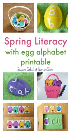 Spring literacy activities that are fun! Egg letter games and printable egg alphabet